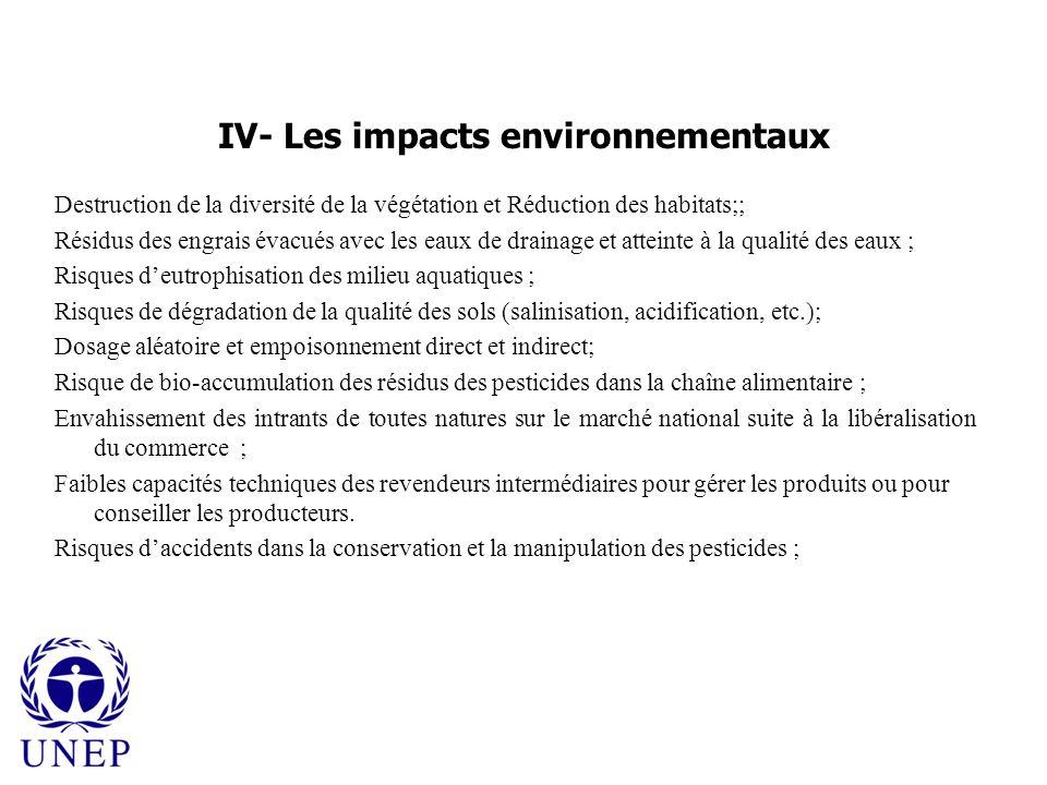 IV- Les impacts environnementaux Destruction de la diversité de la végétation et Réduction des habitats;; Résidus des engrais évacués avec les eaux de drainage et atteinte à la qualité des eaux ; Risques deutrophisation des milieu aquatiques ; Risques de dégradation de la qualité des sols (salinisation, acidification, etc.); Dosage aléatoire et empoisonnement direct et indirect; Risque de bio-accumulation des résidus des pesticides dans la chaîne alimentaire ; Envahissement des intrants de toutes natures sur le marché national suite à la libéralisation du commerce ; Faibles capacités techniques des revendeurs intermédiaires pour gérer les produits ou pour conseiller les producteurs.