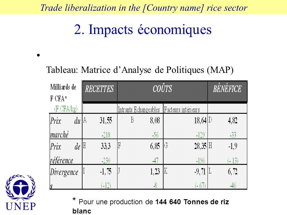 2. Impacts économiques Trade liberalization in the [Country name] rice sector * Pour une production de 144 640 Tonnes de riz blanc Tableau: Matrice dA