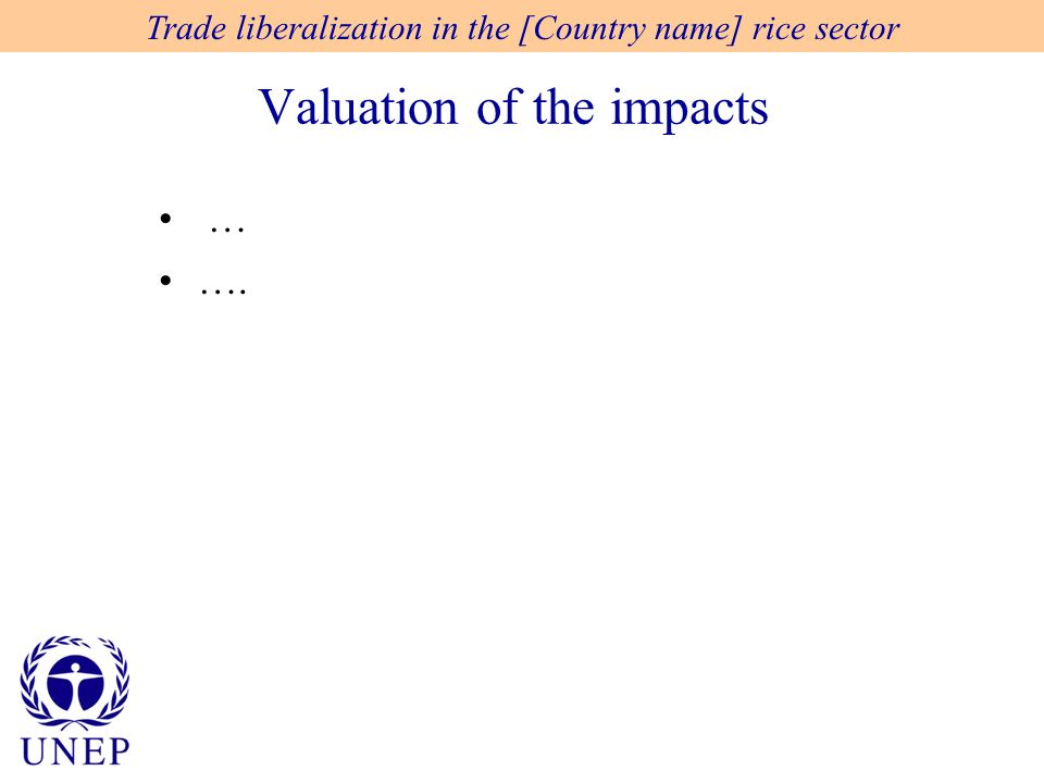 Valuation of the impacts Trade liberalization in the [Country name] rice sector … ….