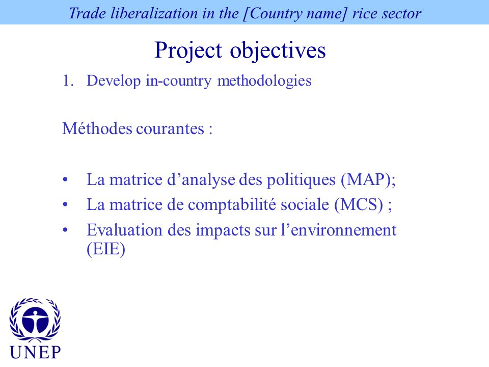 Project Experience: Main Conclusions and Steps Forward This section will: Summarize the main findings presented Repeat the net costs linked to environmental degradation due to trade liberalization / add the non-quantifiable costs Summarize the constraints faced (at national & international levels) Trade liberalization in the [Country name] rice sector
