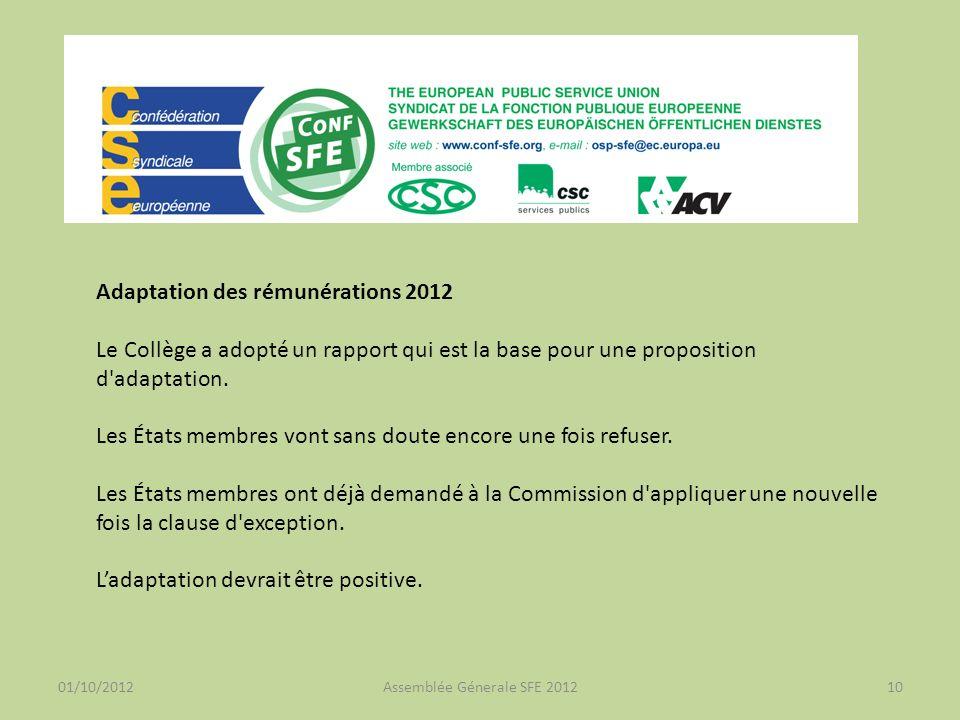 01/10/2012Assemblée Génerale SFE 201210 Adaptation des rémunérations 2012 Le Collège a adopté un rapport qui est la base pour une proposition d adaptation.