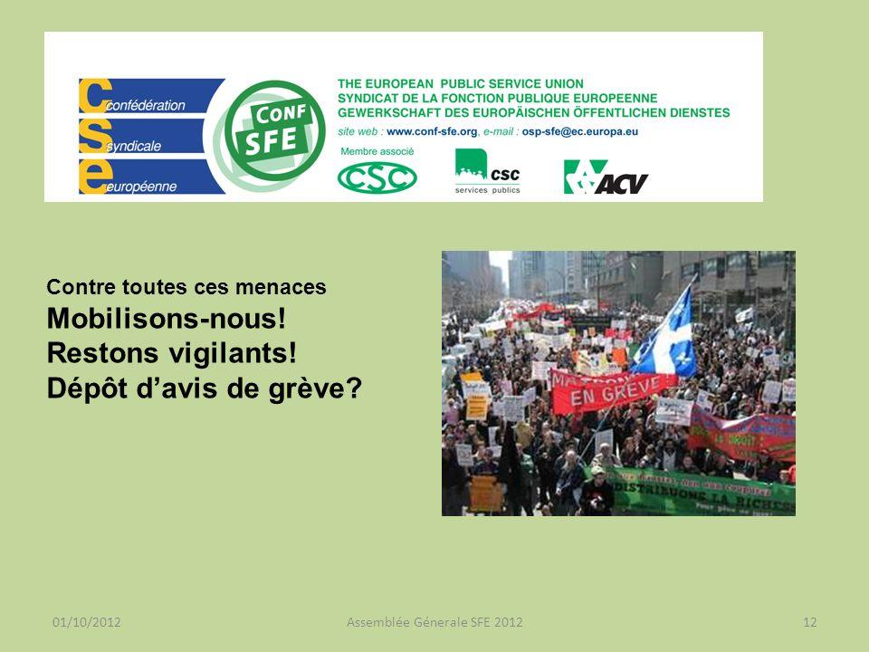 01/10/2012Assemblée Génerale SFE 201212 Contre toutes ces menaces Mobilisons-nous.