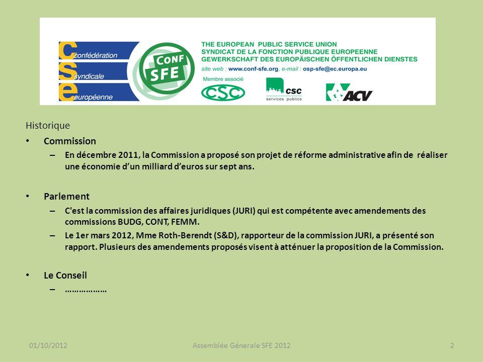 01/10/2012Assemblée Génerale SFE 20123 Conseil (17 SEPTEMBRE 2012 – 13820/12) 8 États membres contributeurs nets au budget UK, FR, DE, NL, DK, FI, AT, SE des économies complémentaires à la proposition de la Commission (1 milliard) pour atteindre entre 5 et 15 milliards.