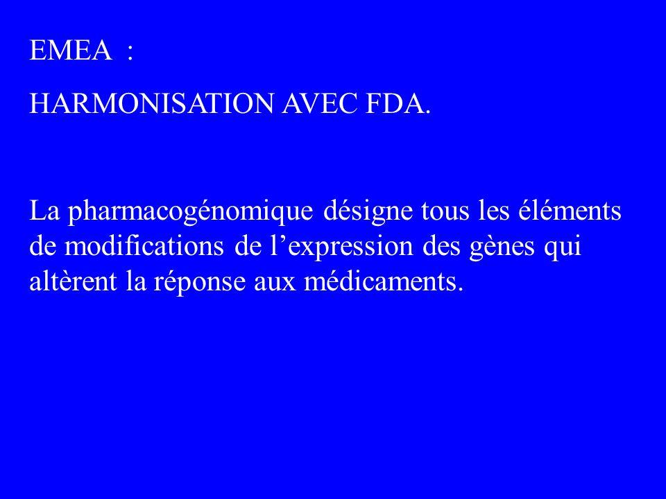 EMEA : HARMONISATION AVEC FDA. La pharmacogénomique désigne tous les éléments de modifications de lexpression des gènes qui altèrent la réponse aux mé
