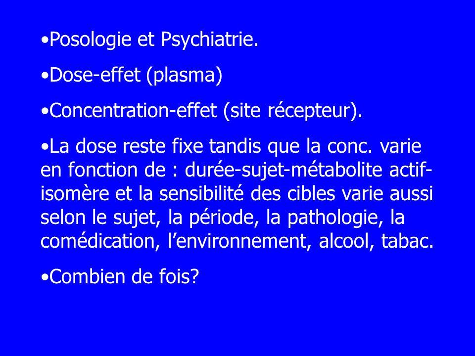 Posologie et Psychiatrie. Dose-effet (plasma) Concentration-effet (site récepteur). La dose reste fixe tandis que la conc. varie en fonction de : duré