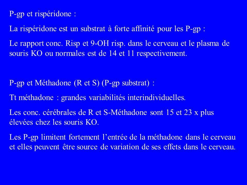 P-gp et rispéridone : La rispéridone est un substrat à forte affinité pour les P-gp : Le rapport conc. Risp et 9-OH risp. dans le cerveau et le plasma