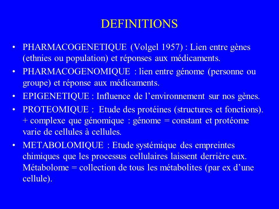 DEFINITIONS PHARMACOGENETIQUE (Volgel 1957) : Lien entre gènes (ethnies ou population) et réponses aux médicaments. PHARMACOGENOMIQUE : lien entre gén