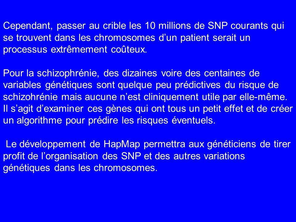 Cependant, passer au crible les 10 millions de SNP courants qui se trouvent dans les chromosomes dun patient serait un processus extrêmement coûteux.