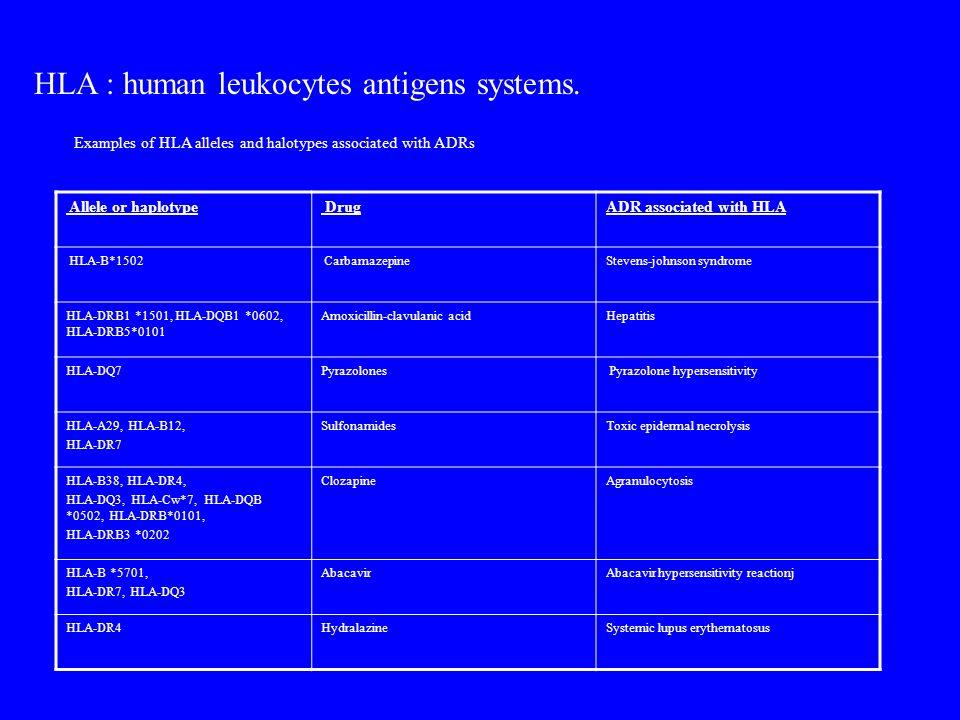 Allele or haplotype DrugADR associated with HLA HLA-B*1502 CarbamazepineStevens-johnson syndrome HLA-DRB1 *1501, HLA-DQB1 *0602, HLA-DRB5*0101 Amoxici