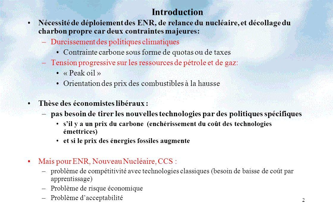 2 Introduction Nécessité de déploiement des ENR, de relance du nucléaire, et décollage du charbon propre car deux contraintes majeures: –Durcissement