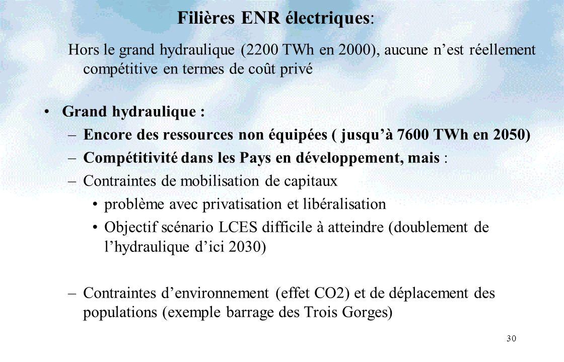 30 Filières ENR électriques: Hors le grand hydraulique (2200 TWh en 2000), aucune nest réellement compétitive en termes de coût privé Grand hydrauliqu