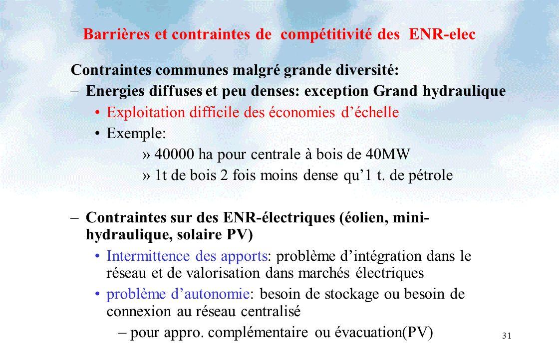 31 Barrières et contraintes de compétitivité des ENR-elec Contraintes communes malgré grande diversité: –Energies diffuses et peu denses: exception Gr