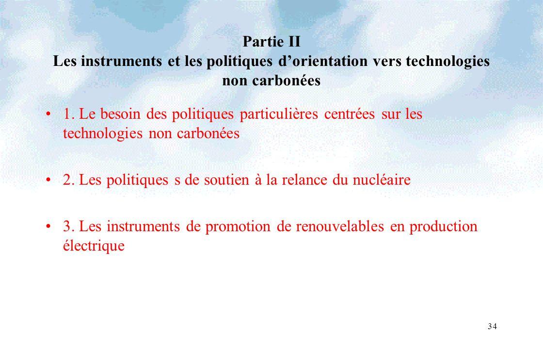 34 Partie II Les instruments et les politiques dorientation vers technologies non carbonées 1. Le besoin des politiques particulières centrées sur les