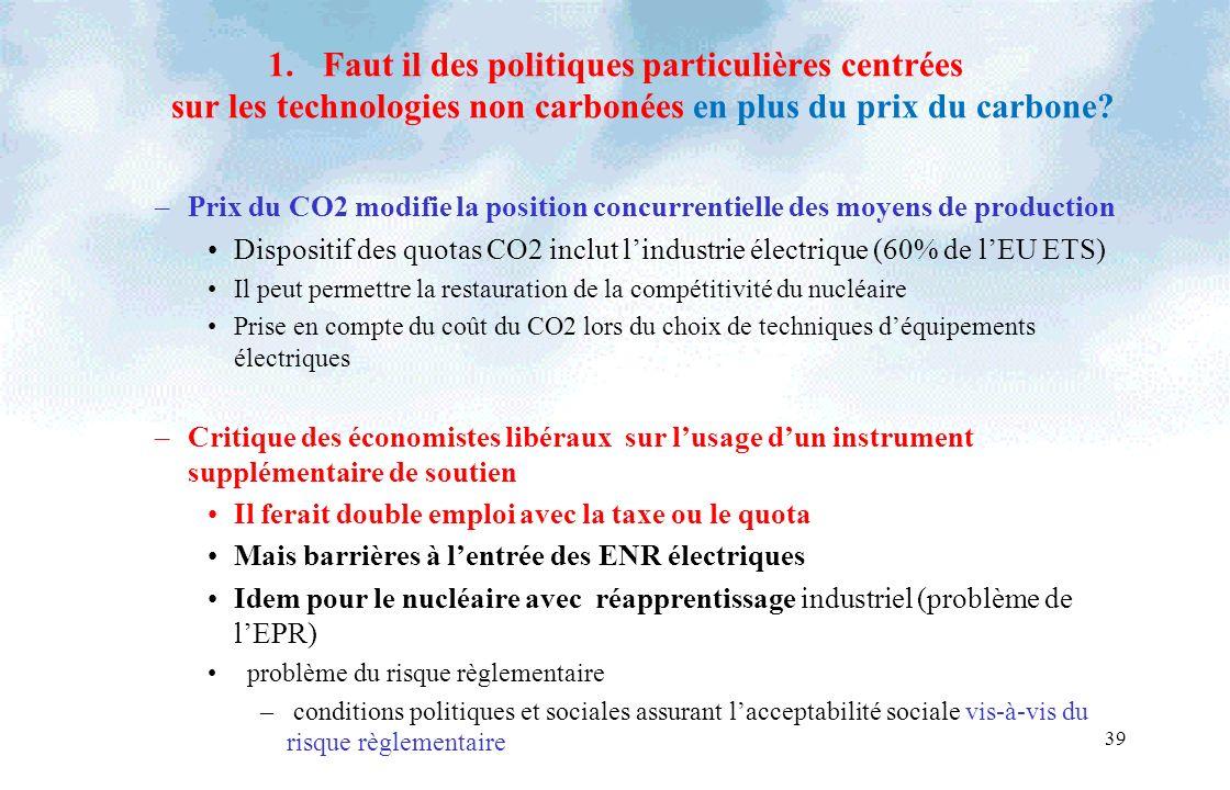 39 1.Faut il des politiques particulières centrées sur les technologies non carbonées en plus du prix du carbone? –Prix du CO2 modifie la position con