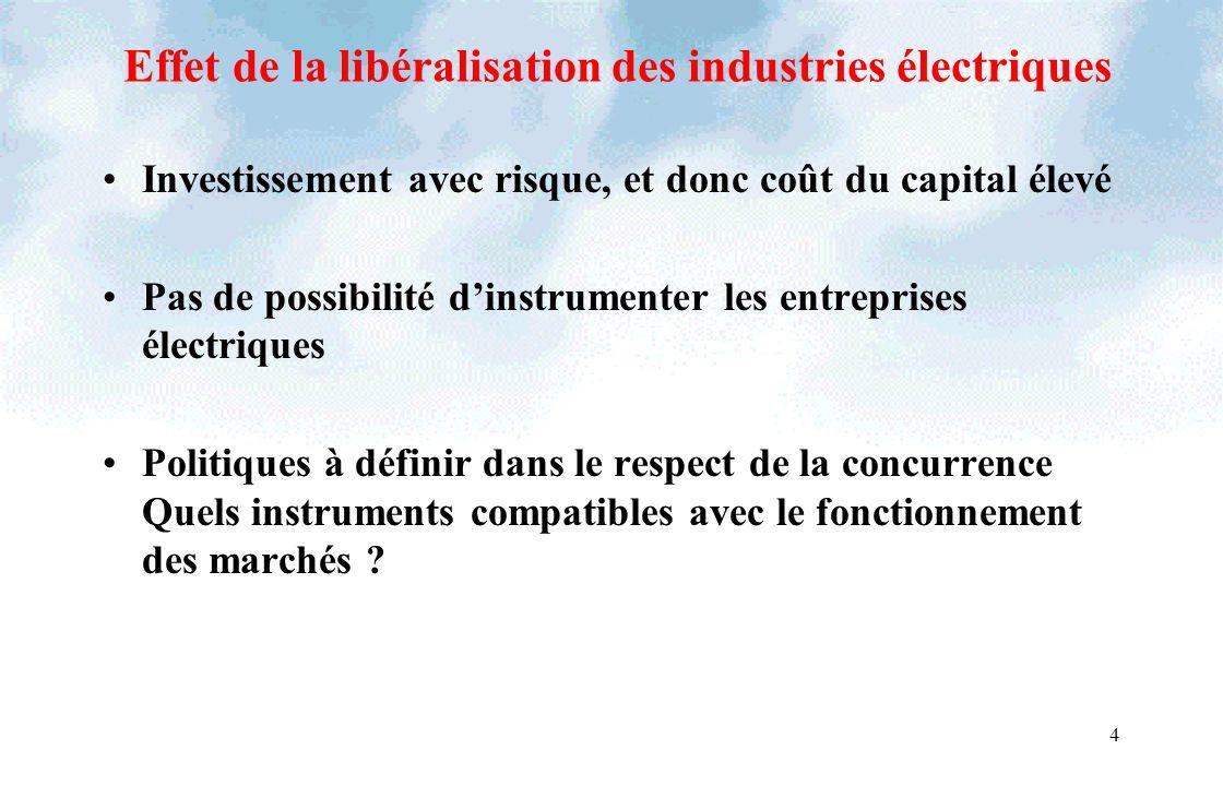 Effet de la libéralisation des industries électriques Investissement avec risque, et donc coût du capital élevé Pas de possibilité dinstrumenter les e