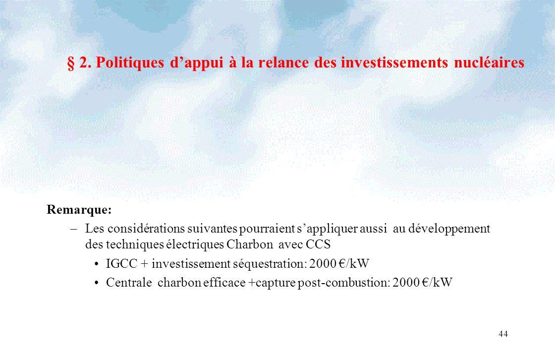 44 § 2. Politiques dappui à la relance des investissements nucléaires Remarque: –Les considérations suivantes pourraient sappliquer aussi au développe