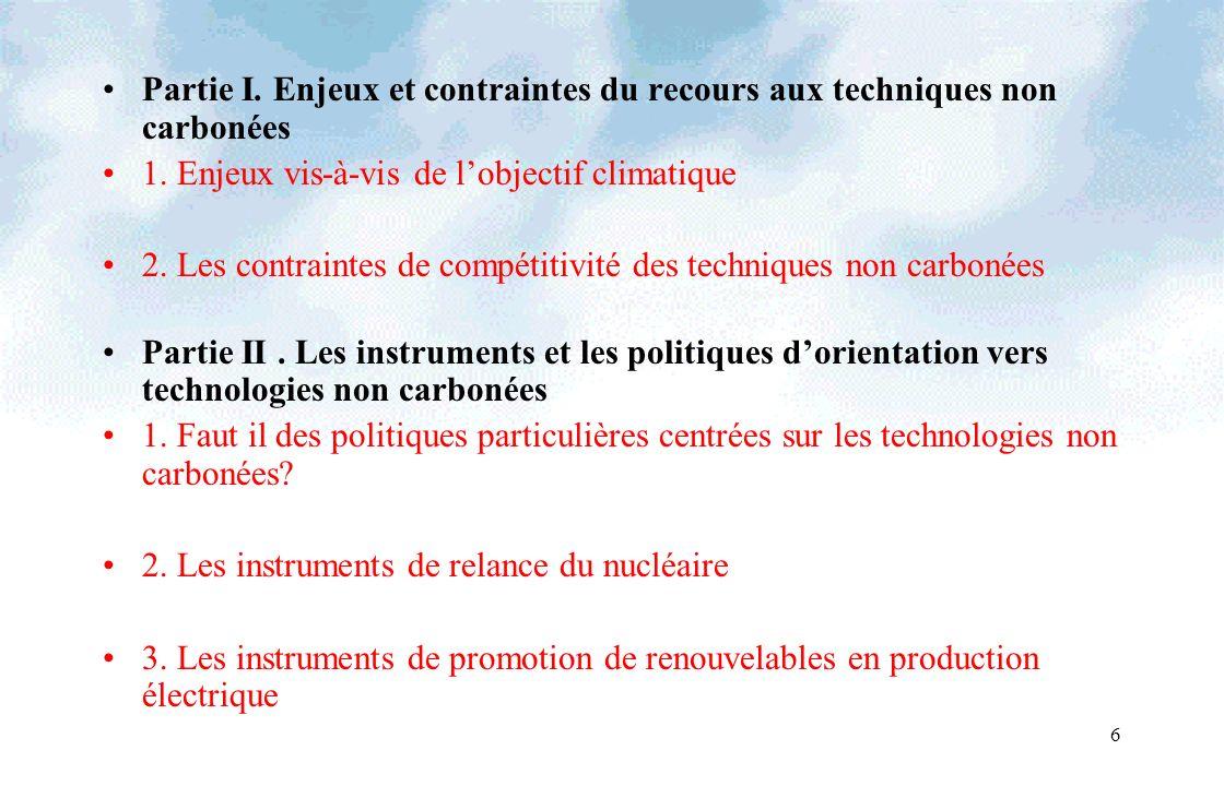 6 Partie I. Enjeux et contraintes du recours aux techniques non carbonées 1. Enjeux vis-à-vis de lobjectif climatique 2. Les contraintes de compétitiv
