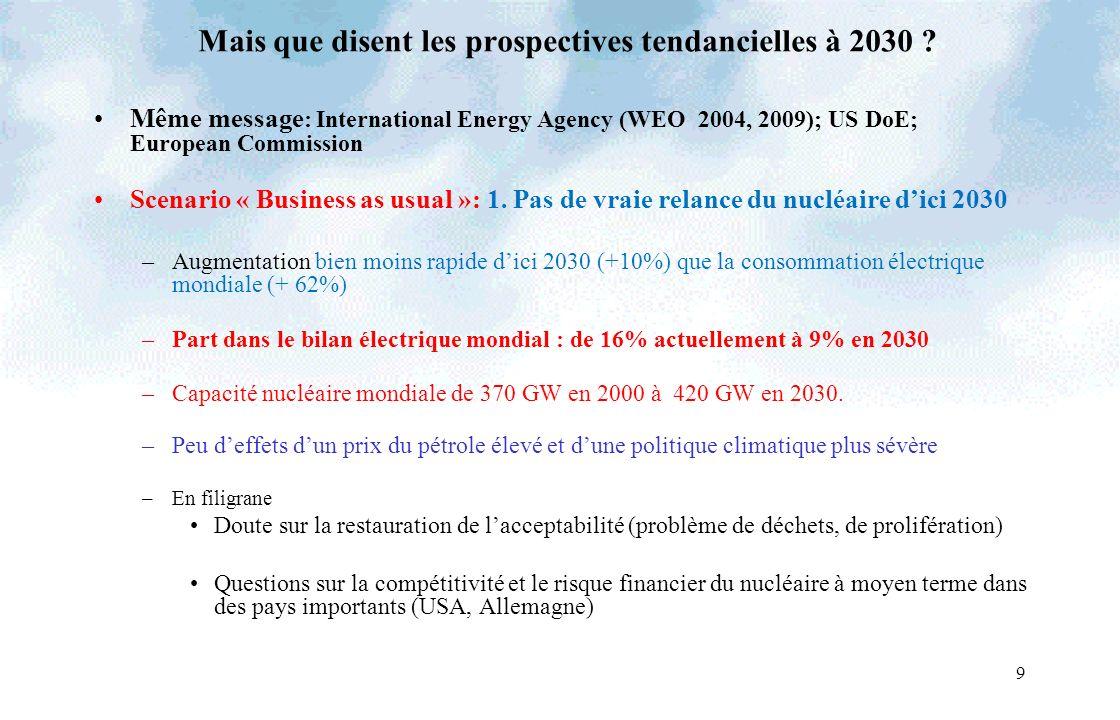 9 Mais que disent les prospectives tendancielles à 2030 ? Même message : International Energy Agency (WEO 2004, 2009); US DoE; European Commission Sce