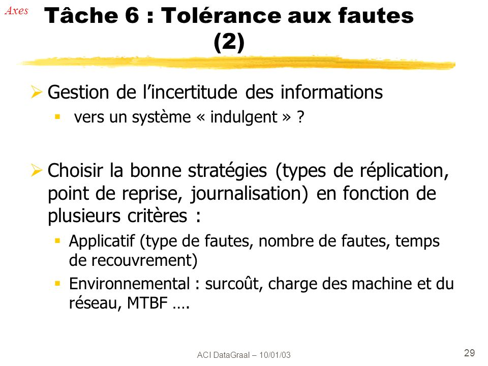 ACI DataGraal – 10/01/03 29 Tâche 6 : Tolérance aux fautes (2) Gestion de lincertitude des informations vers un système « indulgent » ? Choisir la bon