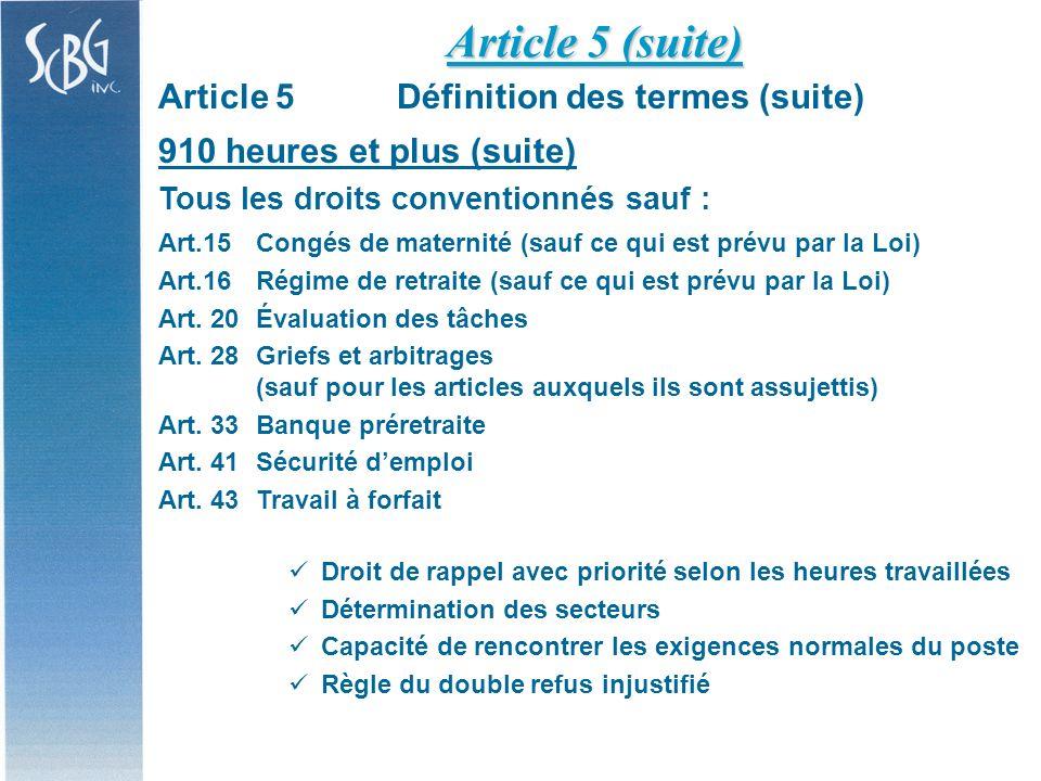 Article 5Définition des termes (suite) 910 heures et plus (suite) Tous les droits conventionnés sauf : Art.15Congés de maternité (sauf ce qui est prévu par la Loi) Art.16Régime de retraite (sauf ce qui est prévu par la Loi) Art.