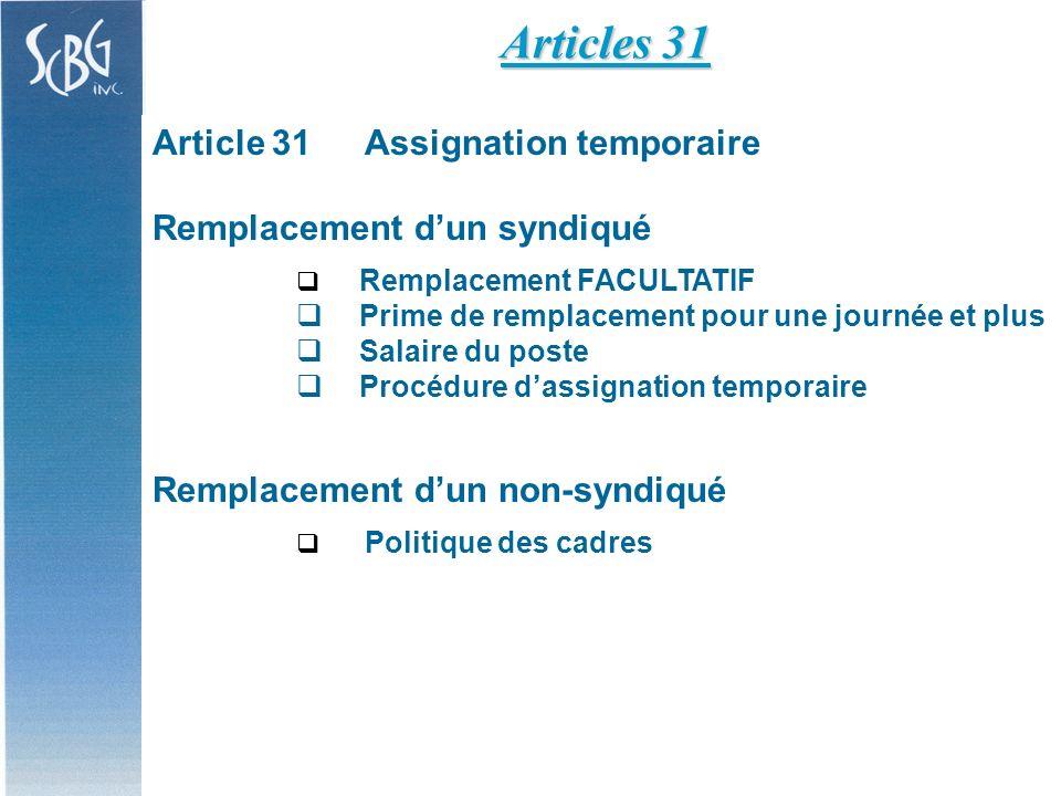 Article 31Assignation temporaire Remplacement dun syndiqué Remplacement FACULTATIF Prime de remplacement pour une journée et plus Salaire du poste Procédure dassignation temporaire Remplacement dun non-syndiqué Politique des cadres Articles 31