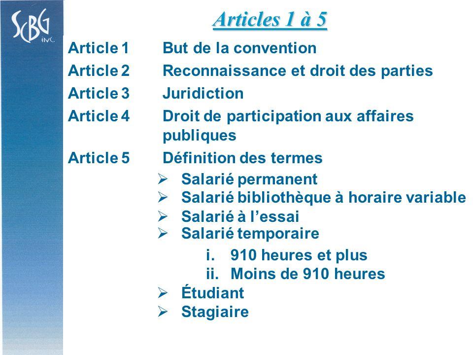 Article 5Définition des termes (suite) Moins de 910 heures Tous les droits conventionnés sauf : Art.