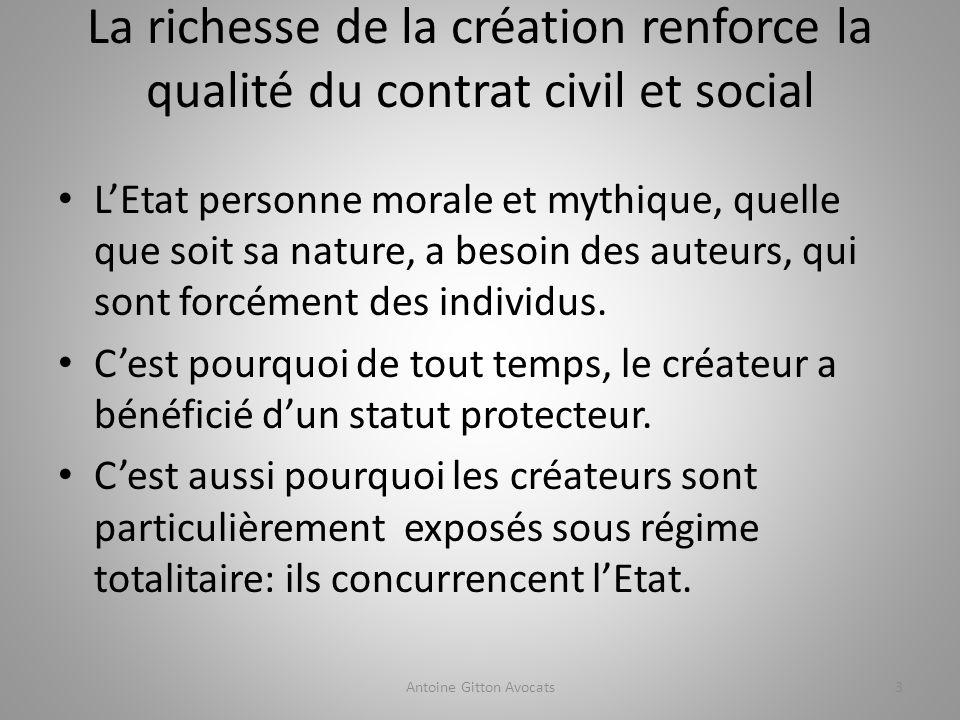 La richesse de la création renforce la qualité du contrat civil et social LEtat personne morale et mythique, quelle que soit sa nature, a besoin des auteurs, qui sont forcément des individus.