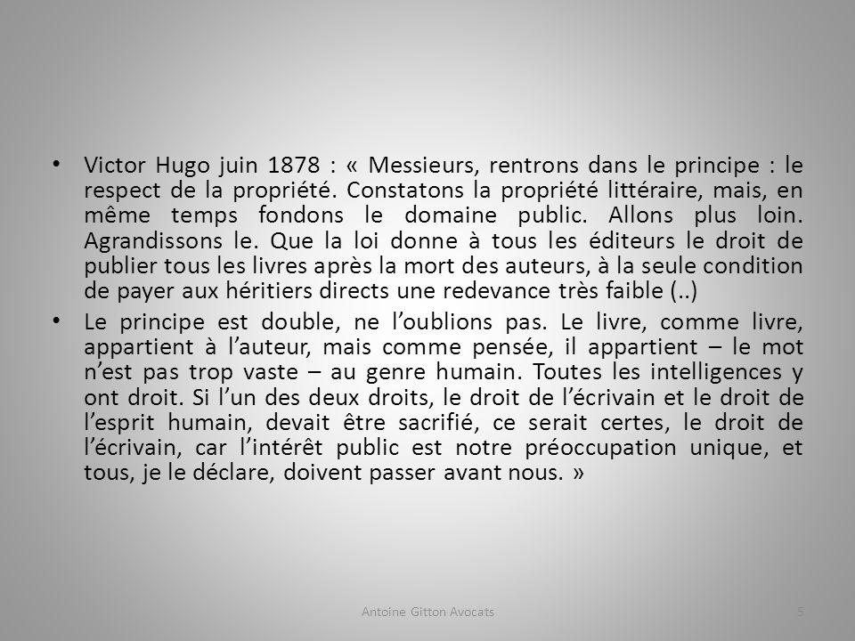 Victor Hugo juin 1878 : « Messieurs, rentrons dans le principe : le respect de la propriété.