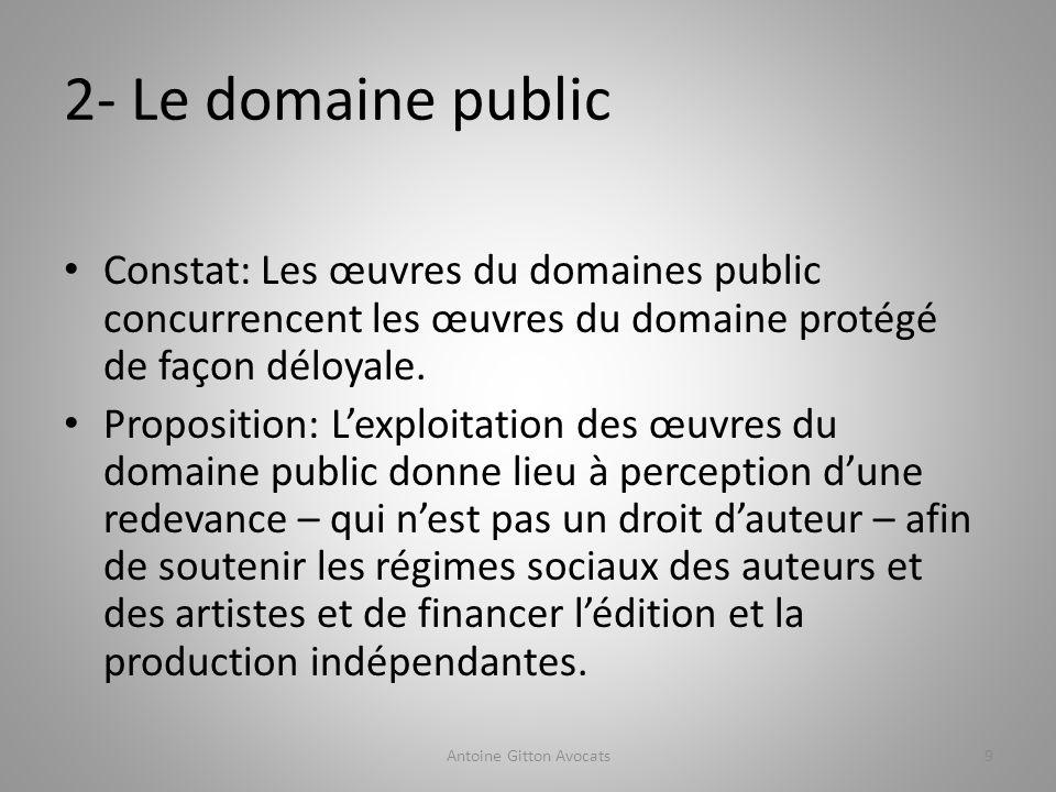 2- Le domaine public Constat: Les œuvres du domaines public concurrencent les œuvres du domaine protégé de façon déloyale.