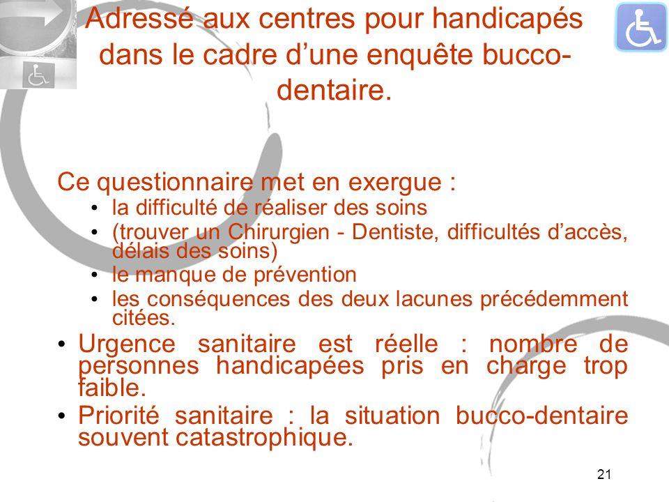 Adressé aux centres pour handicapés dans le cadre dune enquête bucco- dentaire. Ce questionnaire met en exergue : la difficulté de réaliser des soins