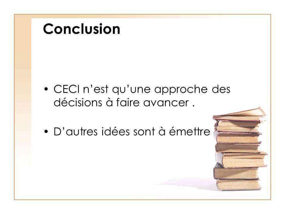 Conclusion CECI nest quune approche des décisions à faire avancer. Dautres idées sont à émettre