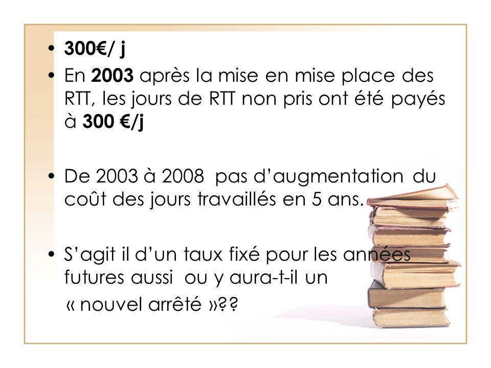 300/ j En 2003 après la mise en mise place des RTT, les jours de RTT non pris ont été payés à 300 /j De 2003 à 2008 pas daugmentation du coût des jours travaillés en 5 ans.