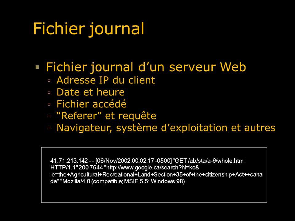 Fichier journal Fichier journal dun serveur Web Adresse IP du client Date et heure Fichier accédé Referer et requête Navigateur, système dexploitation