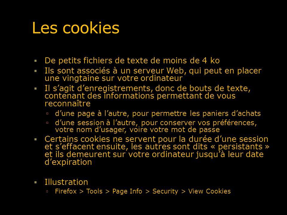 Les cookies De petits fichiers de texte de moins de 4 ko Ils sont associés à un serveur Web, qui peut en placer une vingtaine sur votre ordinateur Il