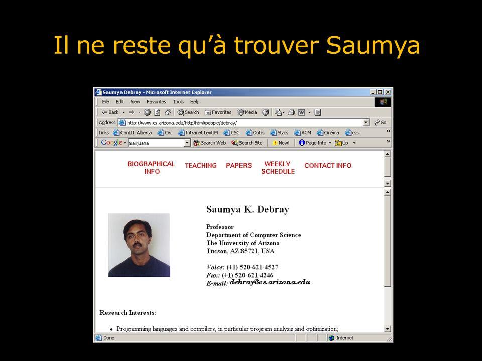 Il ne reste quà trouver Saumya
