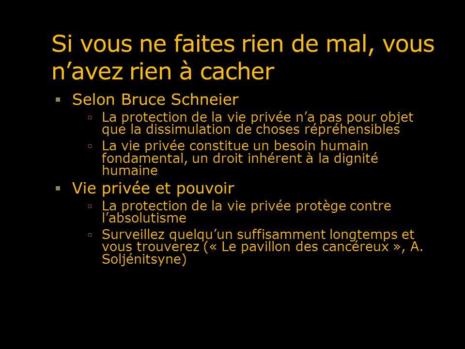 Si vous ne faites rien de mal, vous navez rien à cacher Selon Bruce Schneier La protection de la vie privée na pas pour objet que la dissimulation de