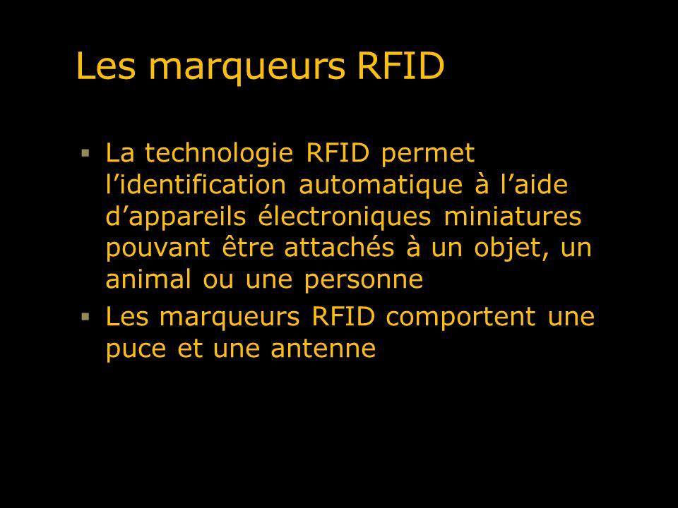 Les marqueurs RFID La technologie RFID permet lidentification automatique à laide dappareils électroniques miniatures pouvant être attachés à un objet