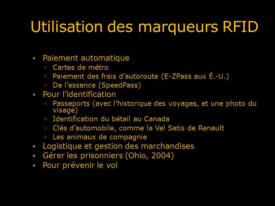Utilisation des marqueurs RFID Paiement automatique Cartes de métro Paiement des frais dautoroute (E-ZPass aux É.-U.) De lessence (SpeedPass) Pour lid