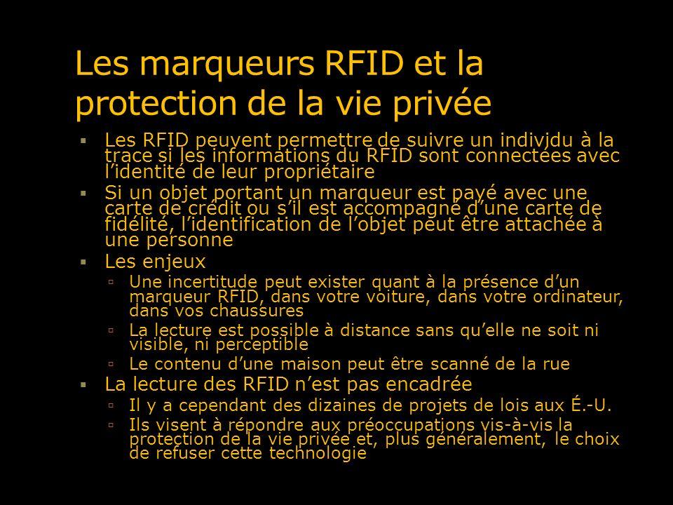 Les marqueurs RFID et la protection de la vie privée Les RFID peuvent permettre de suivre un individu à la trace si les informations du RFID sont conn