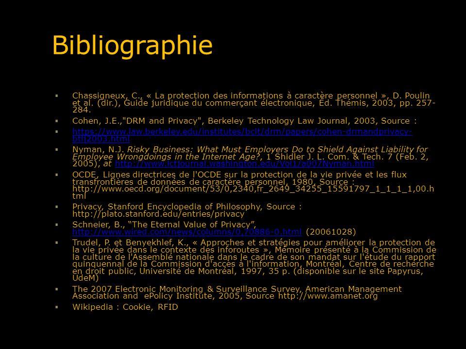 Bibliographie Chassigneux, C., « La protection des informations à caractère personnel », D. Poulin et al. (dir.), Guide juridique du commerçant électr