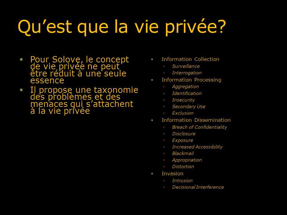 Quest que la vie privée? Pour Solove, le concept de vie privée ne peut être réduit à une seule essence Il propose une taxonomie des problèmes et des m