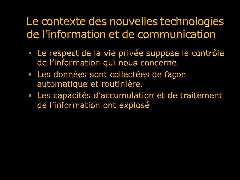 Le contexte des nouvelles technologies de linformation et de communication Le respect de la vie privée suppose le contrôle de linformation qui nous co