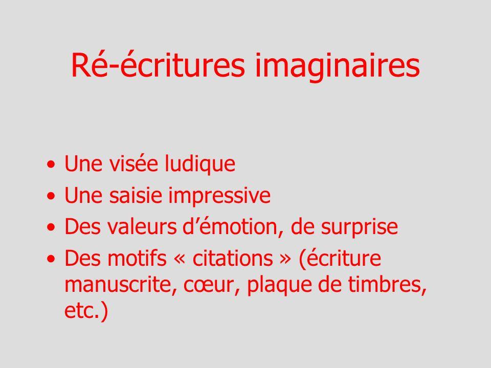 Ré-écritures imaginaires Une visée ludique Une saisie impressive Des valeurs démotion, de surprise Des motifs « citations » (écriture manuscrite, cœur, plaque de timbres, etc.)