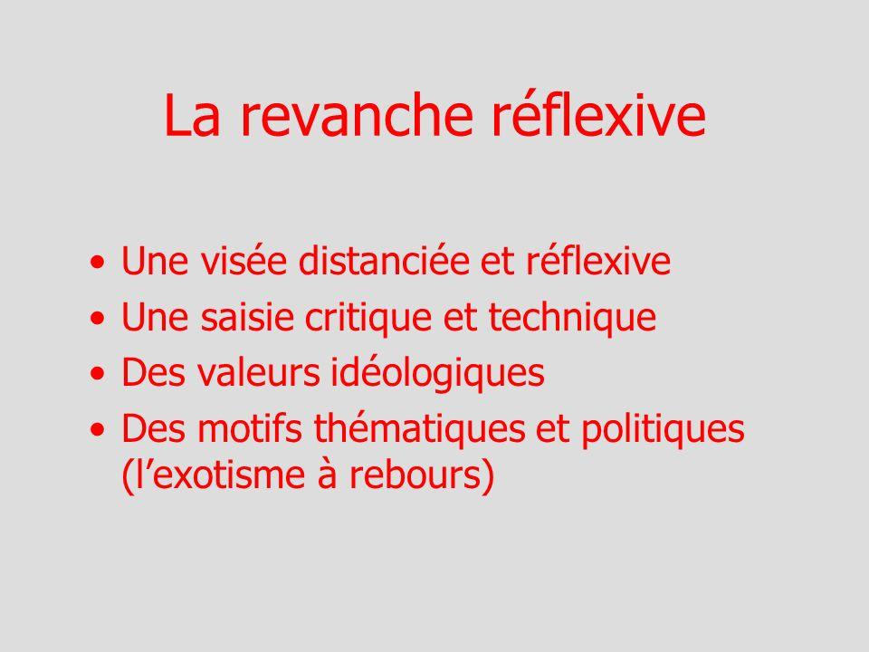 La revanche réflexive Une visée distanciée et réflexive Une saisie critique et technique Des valeurs idéologiques Des motifs thématiques et politiques (lexotisme à rebours)
