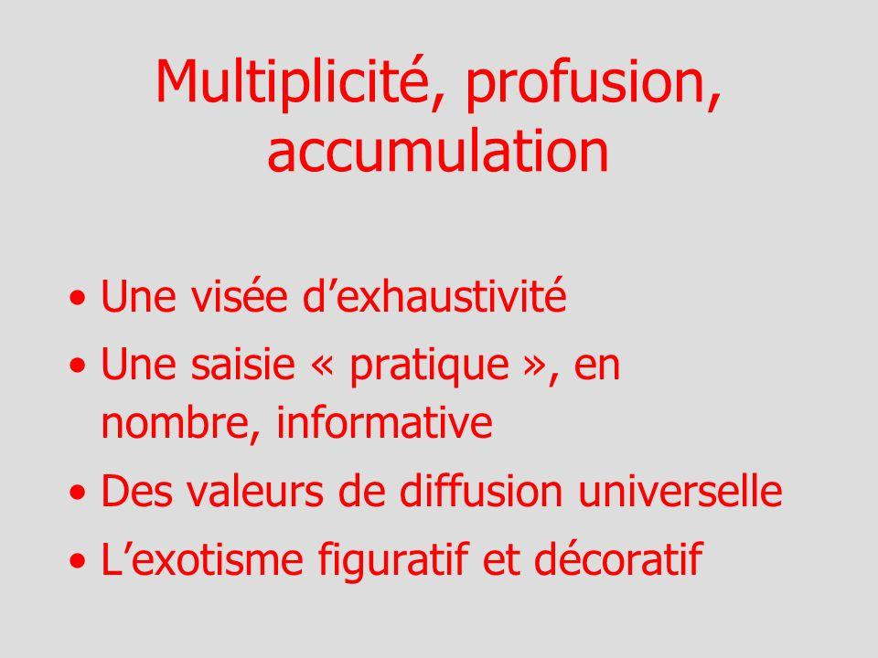 Multiplicité, profusion, accumulation Une visée dexhaustivité Une saisie « pratique », en nombre, informative Des valeurs de diffusion universelle Lexotisme figuratif et décoratif