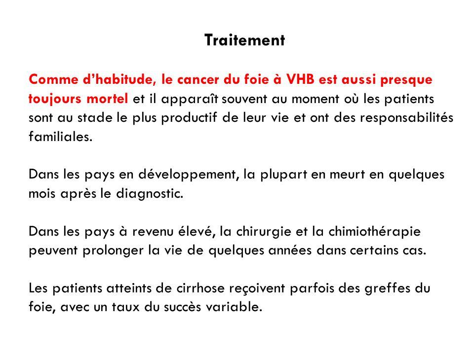 Traitement Comme dhabitude, le cancer du foie à VHB est aussi presque toujours mortel et il apparaît souvent au moment où les patients sont au stade l