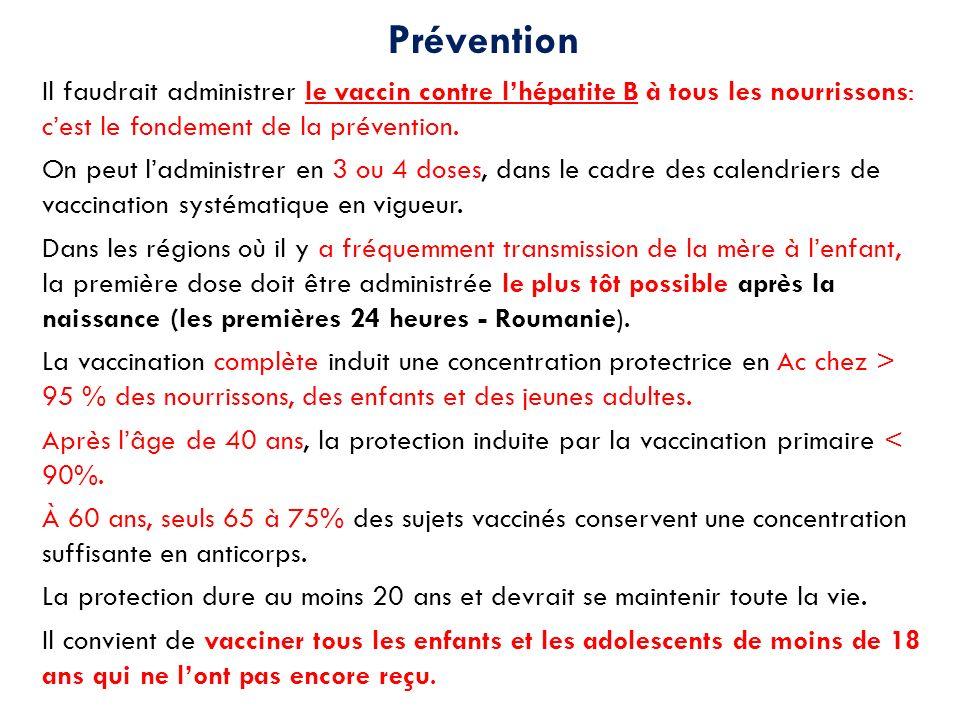 Prévention Il faudrait administrer le vaccin contre lhépatite B à tous les nourrissons: cest le fondement de la prévention. On peut ladministrer en 3