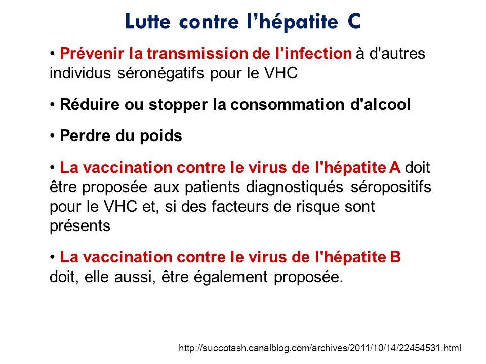Prévenir la transmission de l'infection à d'autres individus séronégatifs pour le VHC Réduire ou stopper la consommation d'alcool Perdre du poids La v