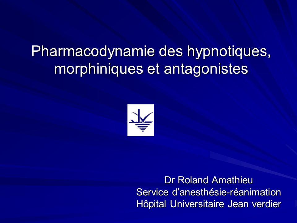 Pharmacodynamie des hypnotiques, morphiniques et antagonistes Dr Roland Amathieu Service danesthésie-réanimation Hôpital Universitaire Jean verdier
