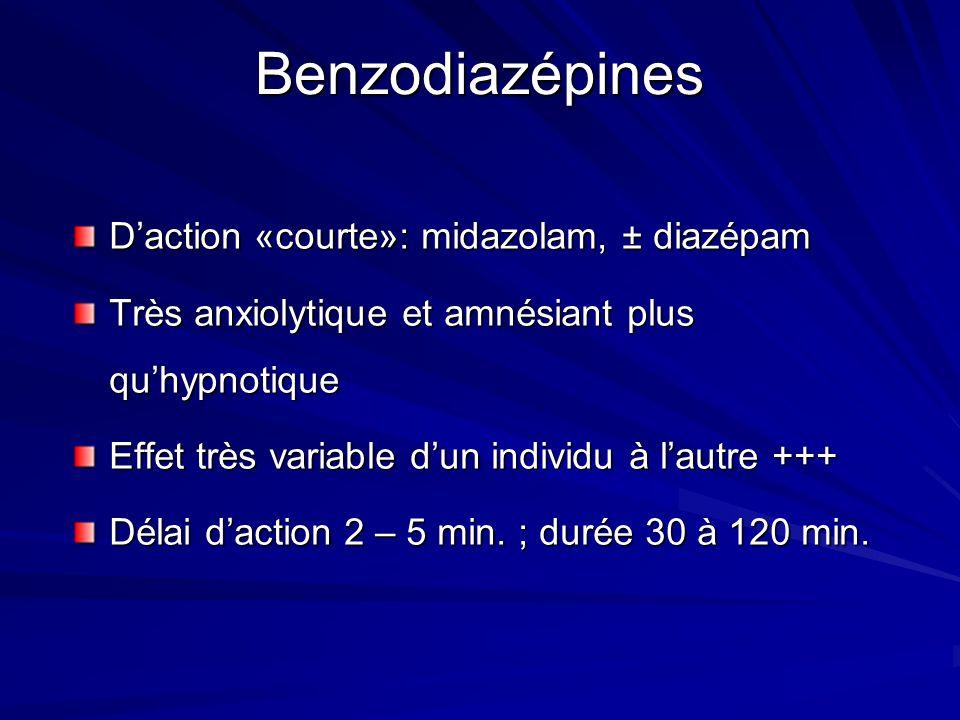 Benzodiazépines Daction «courte»: midazolam, ± diazépam Très anxiolytique et amnésiant plus quhypnotique Effet très variable dun individu à lautre +++ Délai daction 2 – 5 min.